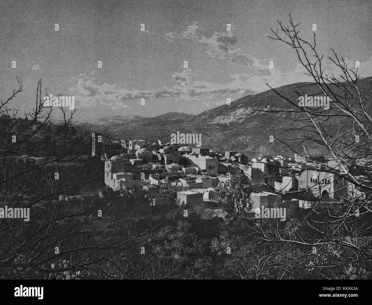 A photograph of the city of Nablus taken from a hill side, the city is a center for Palestinian culture and commerce, - Stock Image