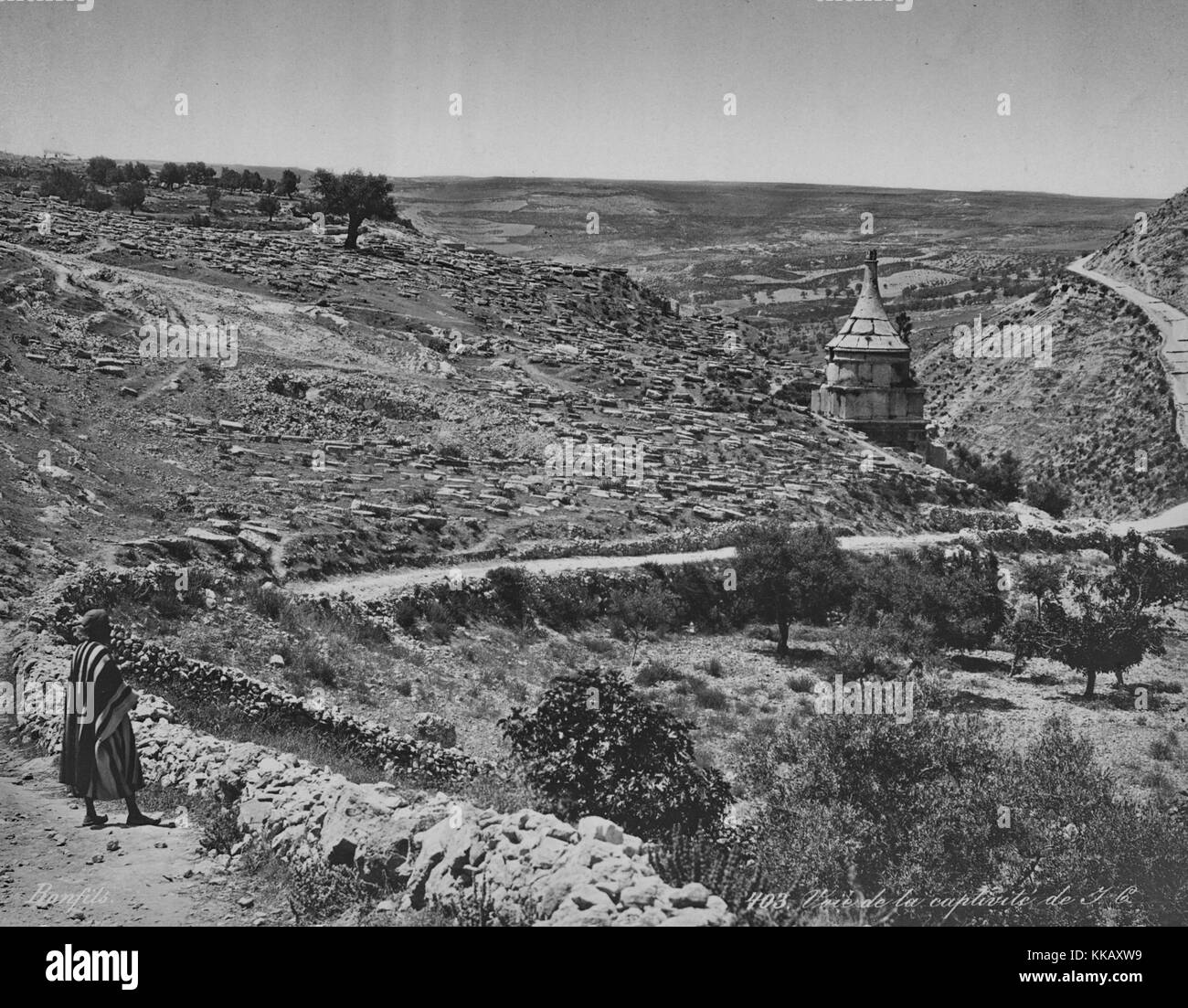 A winding dirt road cutting through the arid, rocky landscape near Jerusalem, Israel, 1900. From the New York Public - Stock Image