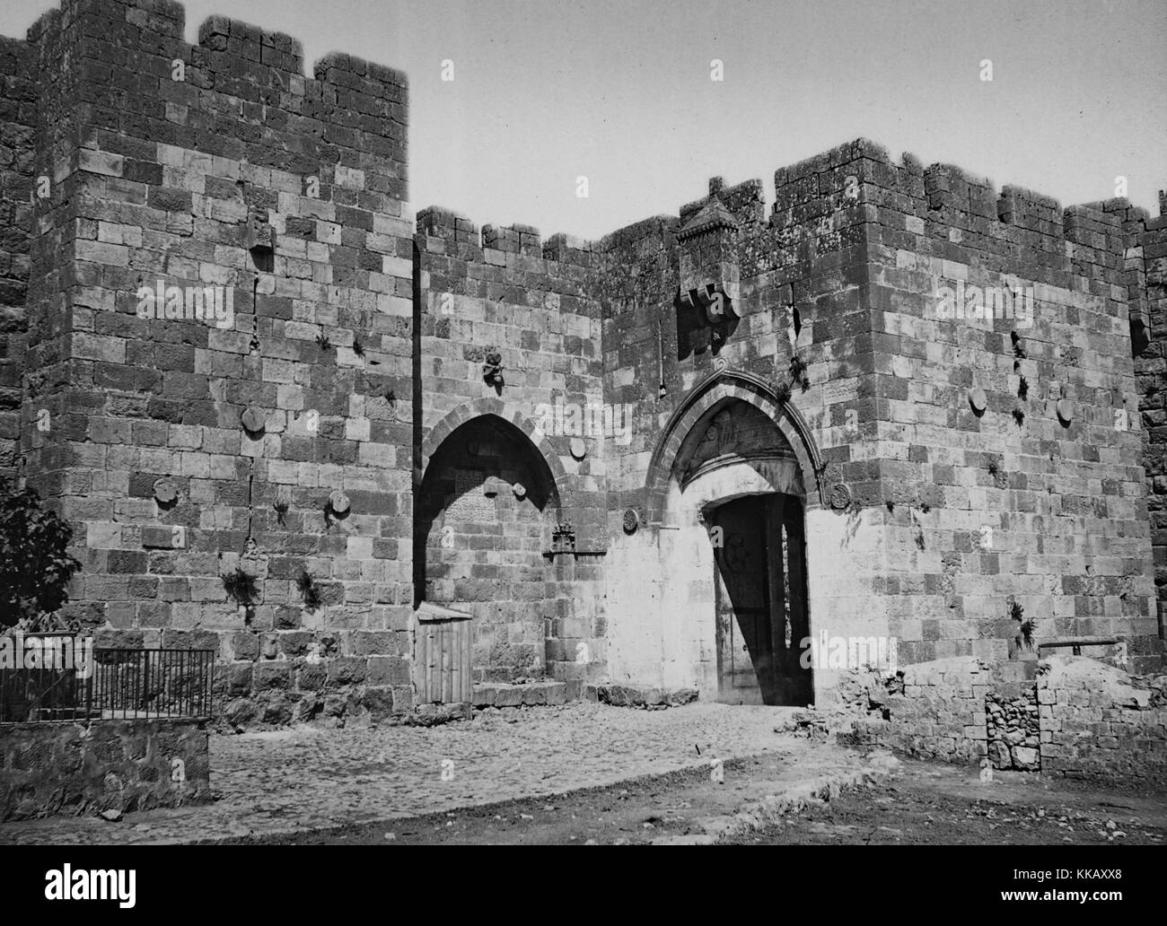 The Jaffa Gate, also known as David's Gate,  one of the eight gates that enter the Old City of Jerusalem and - Stock Image