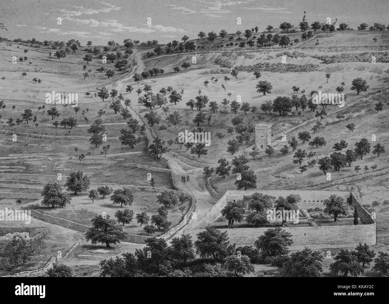 Lithograph depicting a panorama with hills, trees, a road, and some stone structures, titled 'Mount of Olives - Stock Image