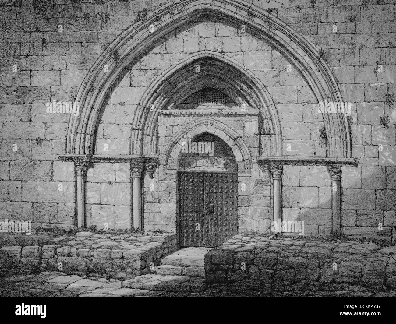 Lithograph depicting a stone wall, with arches and columns, and a closed door, captioned 'Front of the Tomb - Stock Image