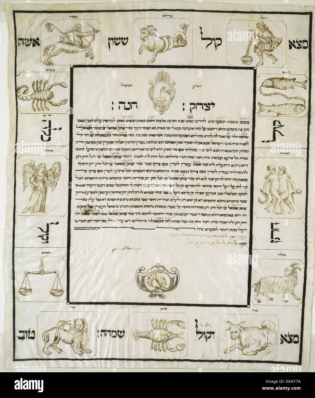 A page from a Ketubah, which is a form of marriage agreement in Jewish religious tradition,  decorated with symbols - Stock Image
