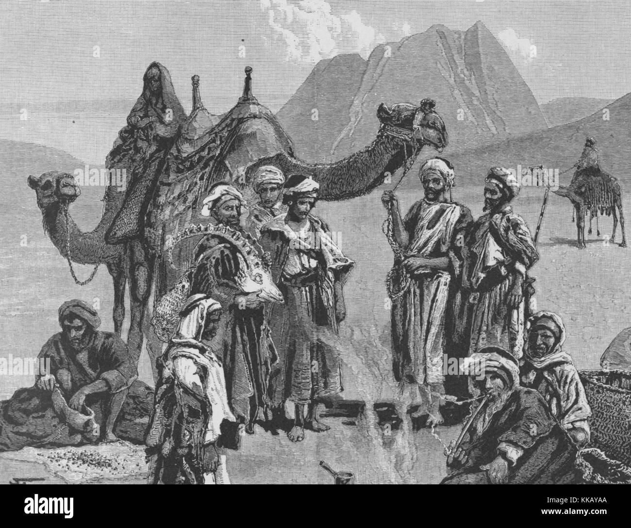 An engraving that depicts a group of Arabs with Mount Sinai behind them, at the time of the engraving they were - Stock Image
