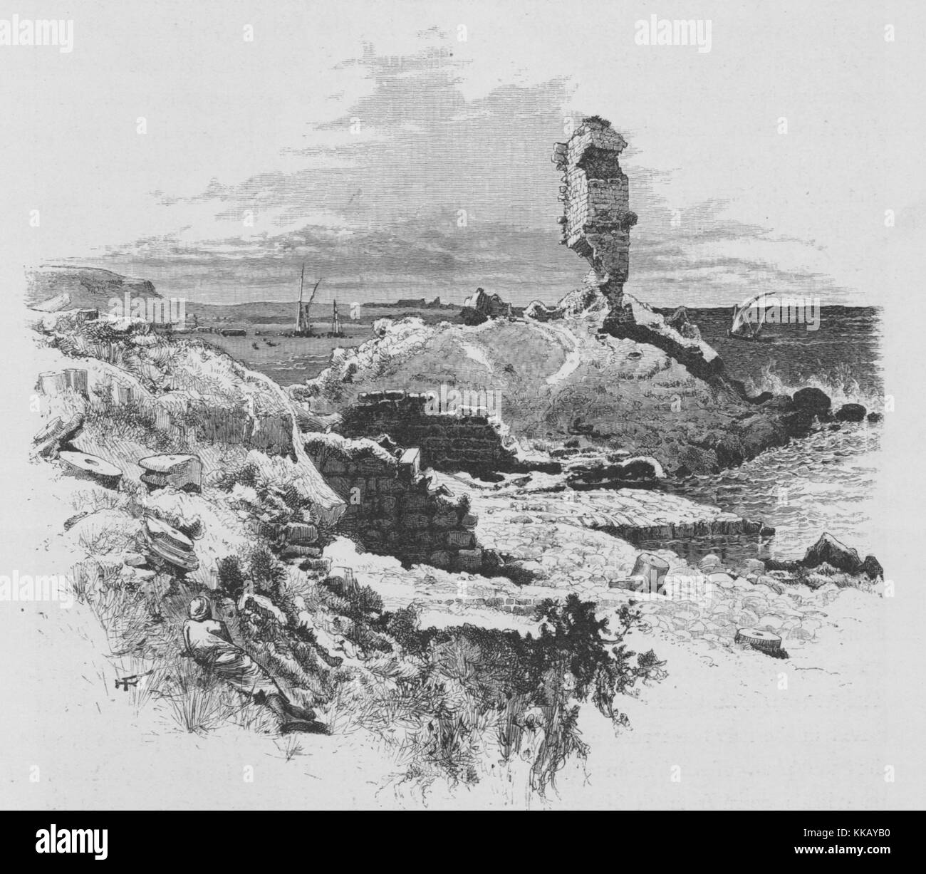 An etching that shows the remains of a fort near the coastal city of Tanturah, which is seen in the background, - Stock Image