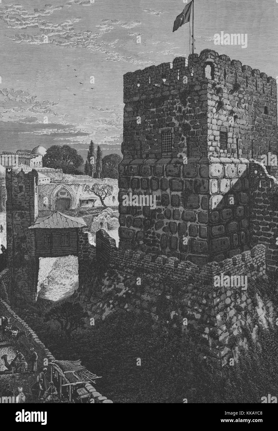 An engraving depicting the Tower of David, it is also known as the Citadel of Jerusalem, a bridge can be seen leading - Stock Image