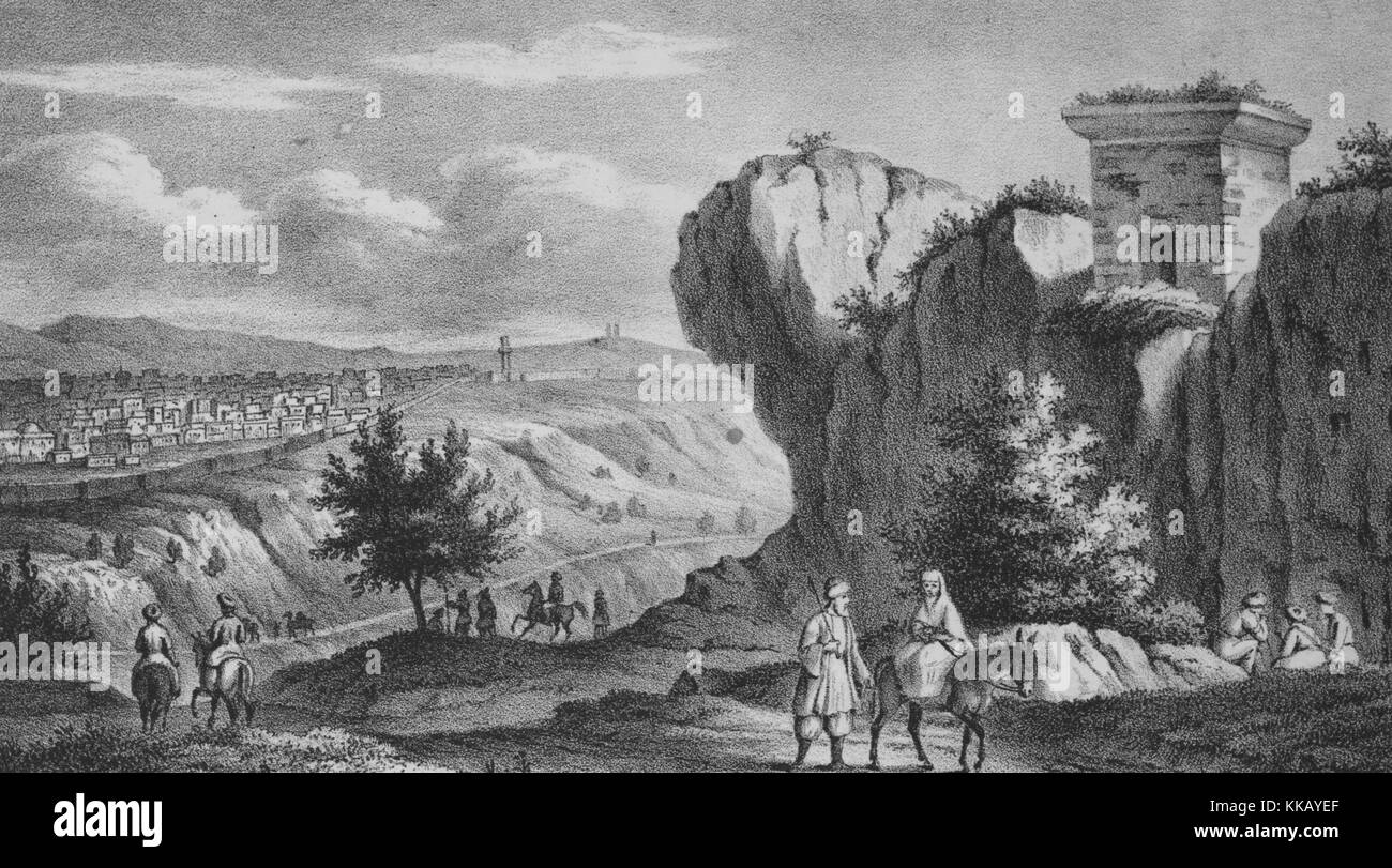 An engraving showing a Palestinian landscape, a woman is riding on the back of a donkey while a man walks beside - Stock Image