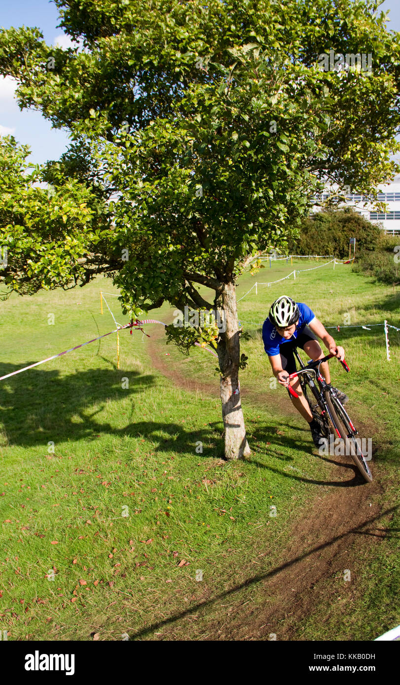 Cyclocross rider cycling round a small tree - Stock Image