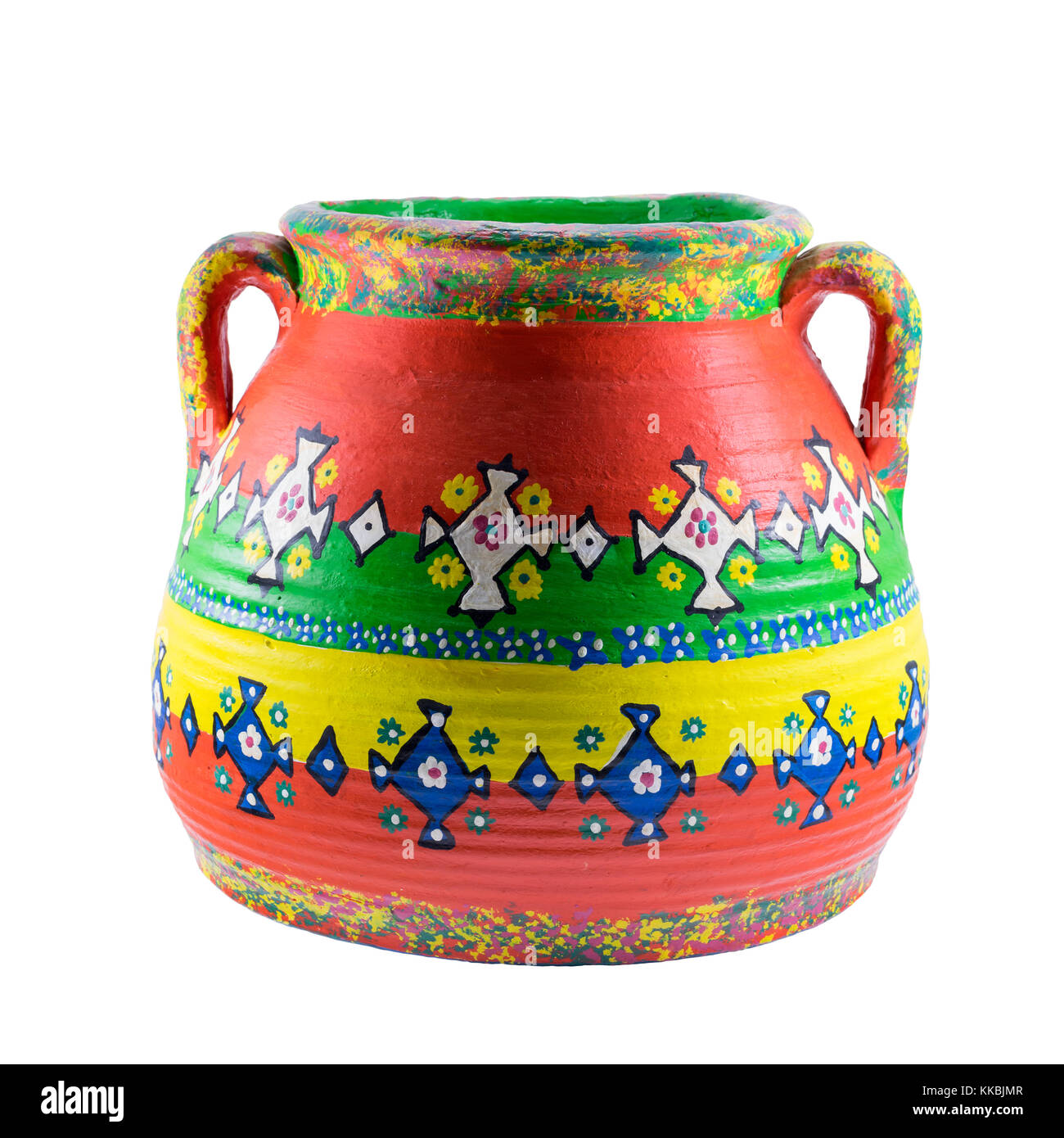 Egyptian decorated colorful painted pottery vase isolated on white - Stock Image