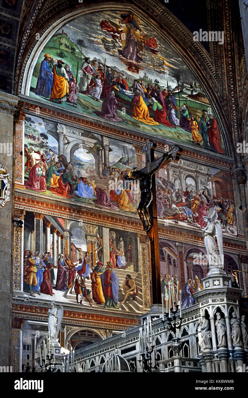Scenes from the Life of the Virgin, fresco by Domenico Ghirlandaio (1448-1494).1485, Basilica of Santa Maria Novella - Stock Image