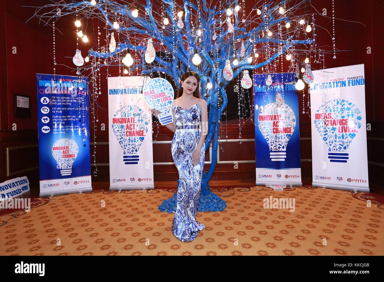 Huong Giang Idol, a famous transgender singer in Vietnam, attends a ceremony and shows her support for an innovation - Stock Image