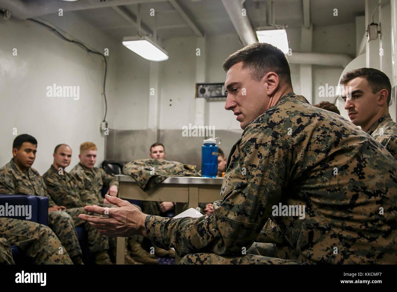 U.S. Marine Corps Sgt. Sean A. O'Neill, an infantryman with Fox Company, 2nd Battalion, 6th Marine Regiment, - Stock Image