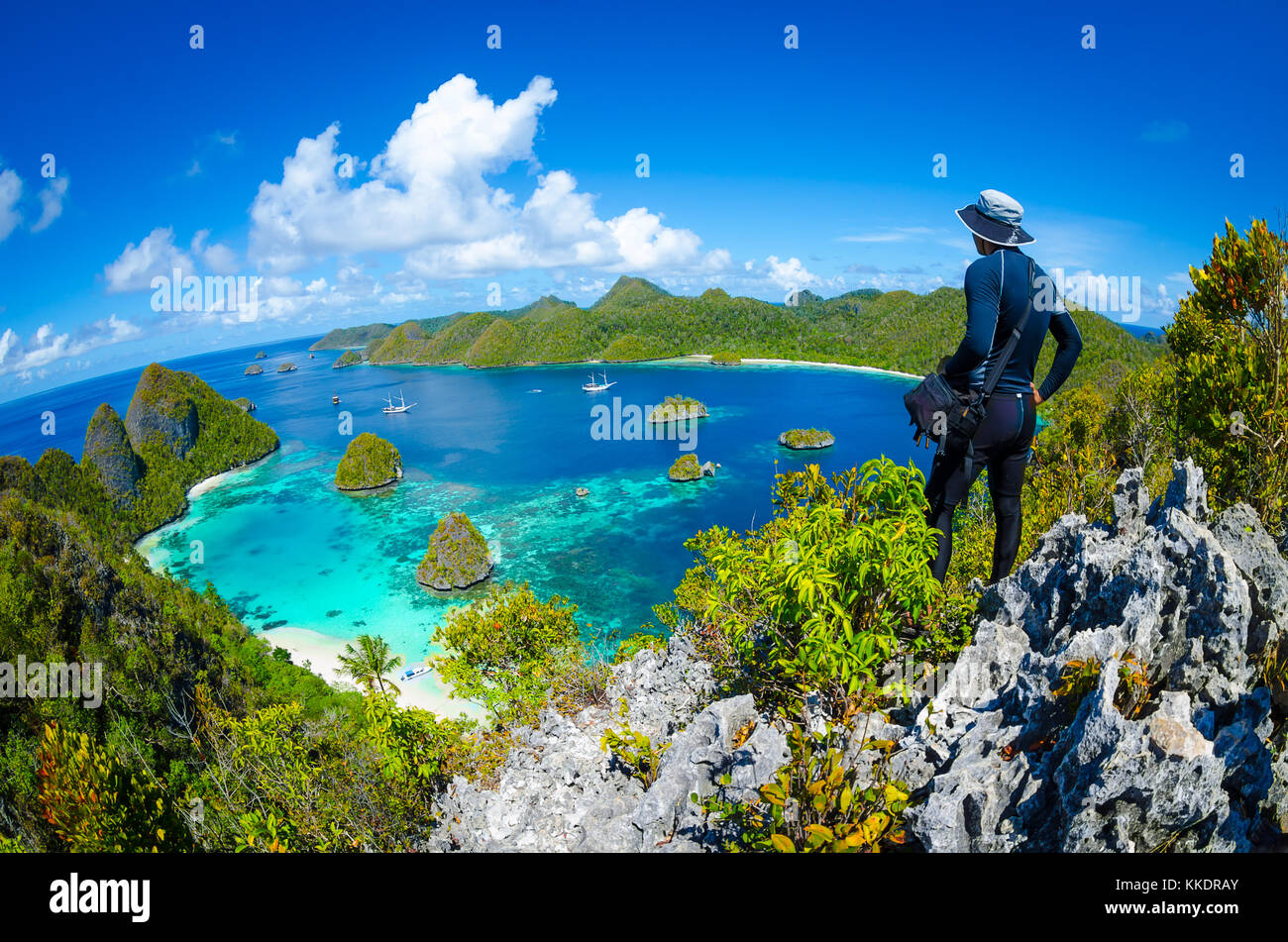Wayag viewpoint, Raja Ampat, West Papua, Indonesia - Stock Image