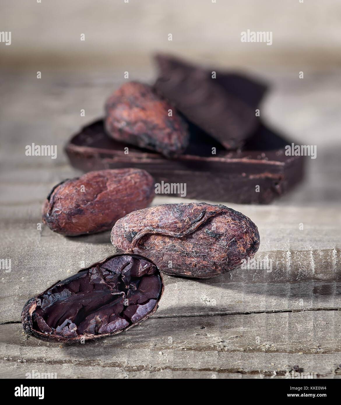 Cocoa beans and piece of dark chocolate - Stock Image