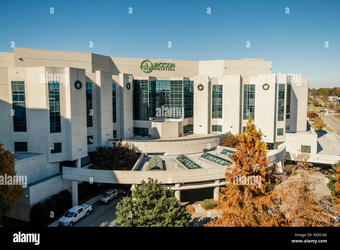 Jackson Hospital exterior, front view; a large medical and health care facility in Montgomery, Alabama USA. - Stock Image
