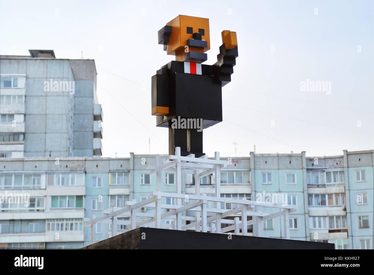 Krasnoyarsk, Russia. 1st Dec, 2017. A cardboard monument to Russian revolutionary Vladimir Lenin created by Alexander - Stock Image