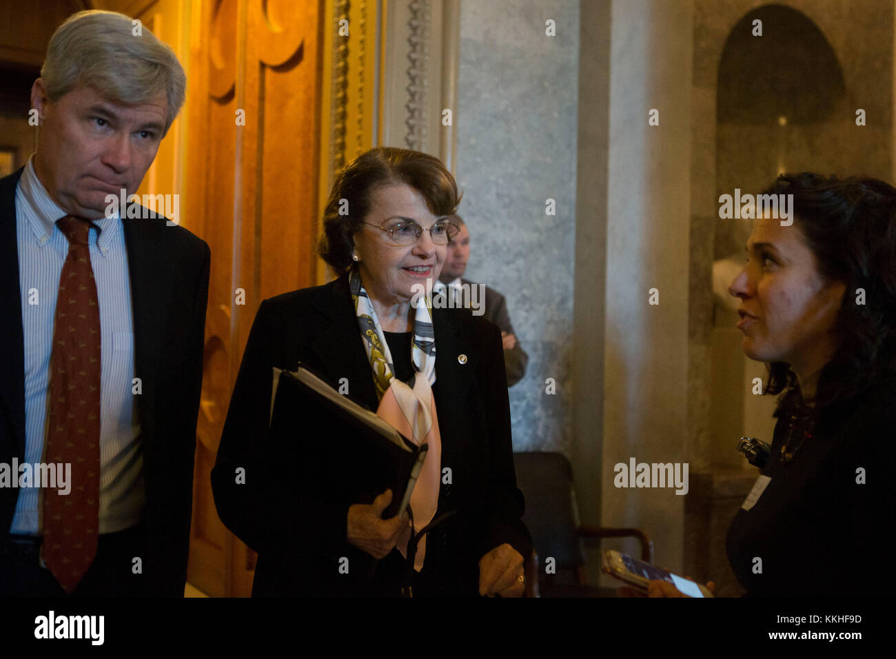 United States Senator Dianne Feinstein (Democrat of California) and US Senator Sheldon Whitehouse (Democrat of Rhode - Stock Image