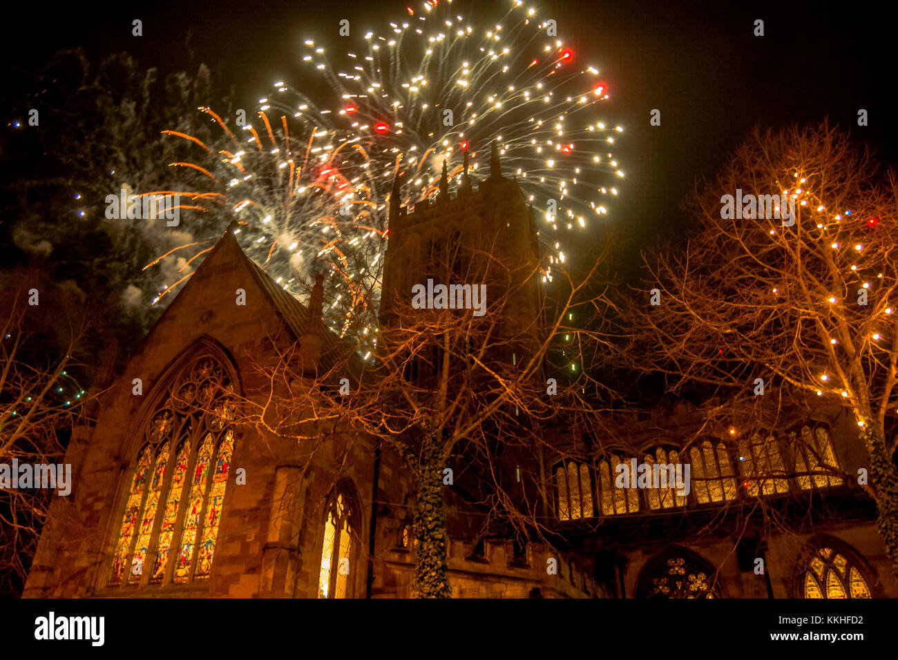 Melton Mowbray December 1st 2017: St Marys church a dramatic town buildling became the backdrop for the annual Christmas - Stock Image