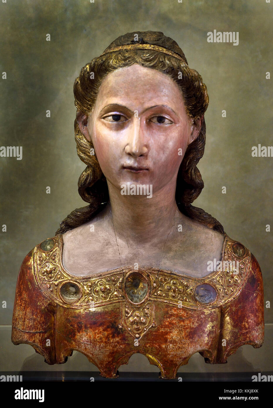 Reliquary bust of St. Ursula  By Mariano di Agnolo Romanelli, at the end of the 14th century.  Grand Cloister ( - Stock Image
