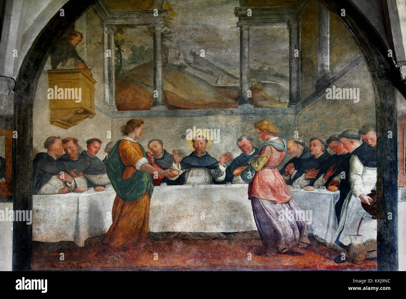 San Domenico in the canteen nourished by the angels 1581 Santi di Tito 1536 - 1603  Grand Cloister ( Basilica of - Stock Image