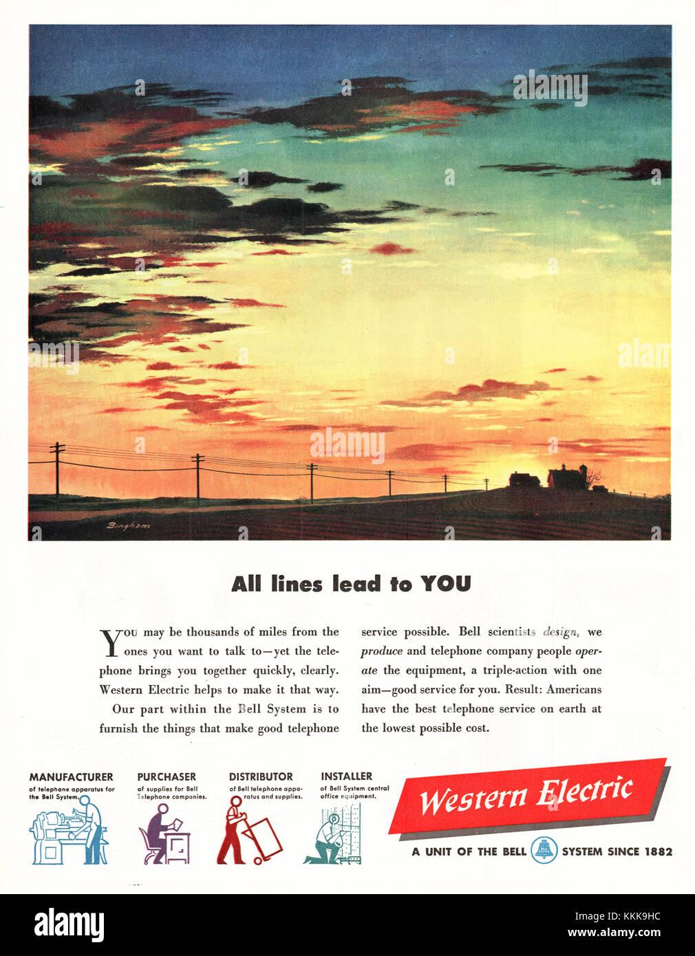 1949 U.S. Magazine Western Electric Advert - Stock Image