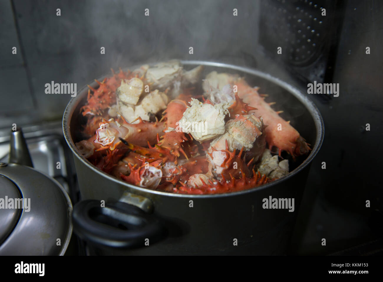 Southern King Crab legs cooking in a pot - Stock Image