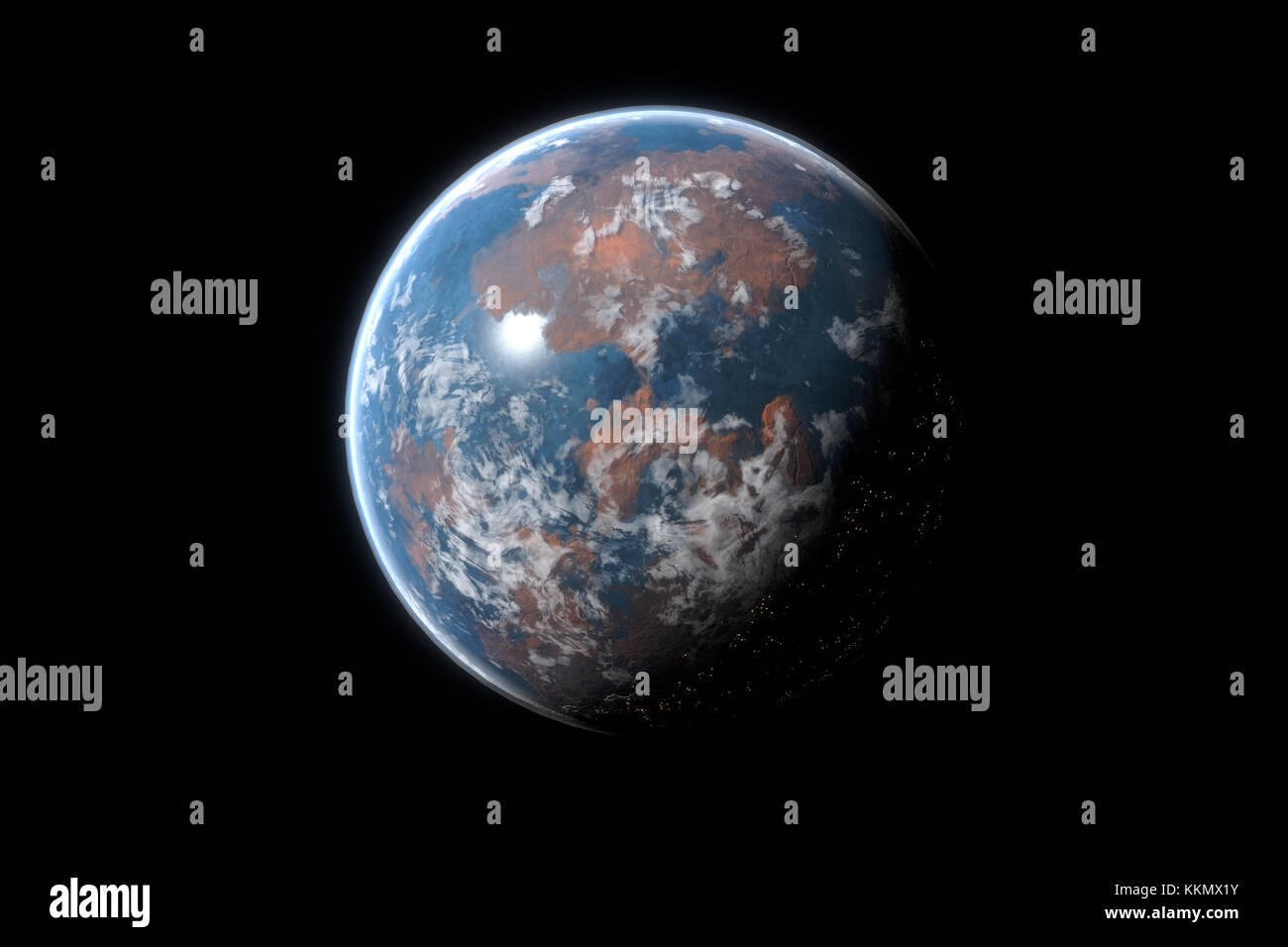 This image represent a generic desert planet or exoplanet with atmosphere and life. It is a realistic 3d rendering - Stock Image