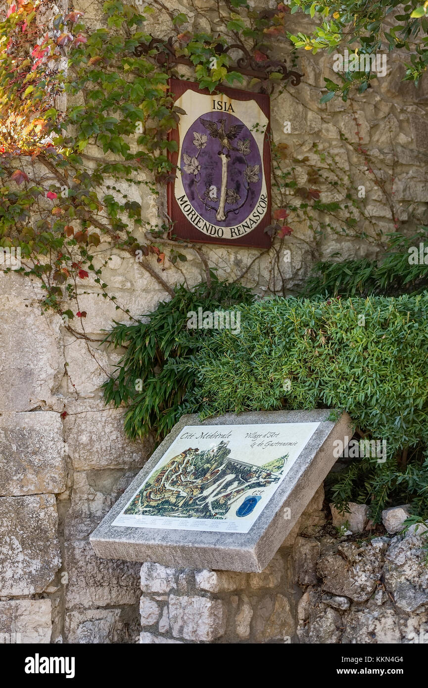 A walking map of the charming art village of Eze,  Alpes-Maritimes, France. - Stock Image