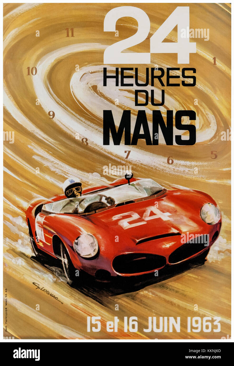 '24 Heures du Mans 15 et 16 Juin 1963' poster illustrated by G. Laygnac and showing a Ferrari 330 TRI/LM Spyder - Stock Image