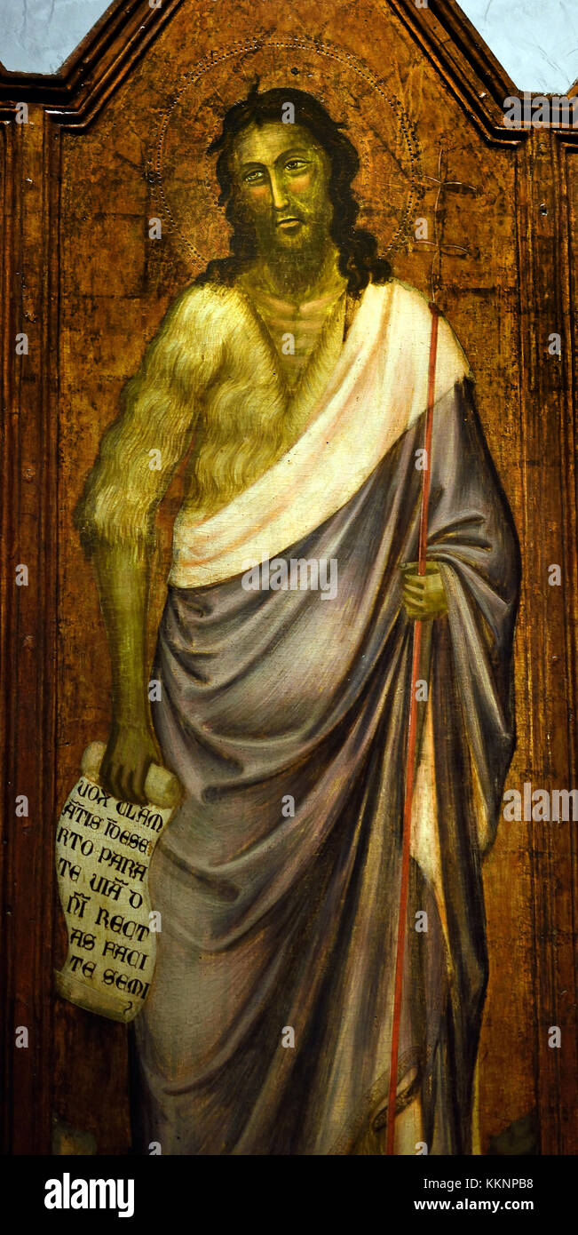 John the Baptist by Florentine painter 15th Century Museo dell'Opera del Duomo in Florence, Florence Italy - Stock Image