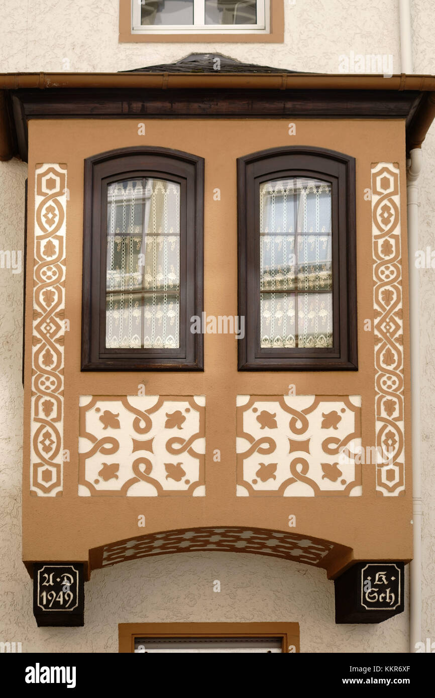 A nostalgic and listed bay with carved ornaments, - Stock Image