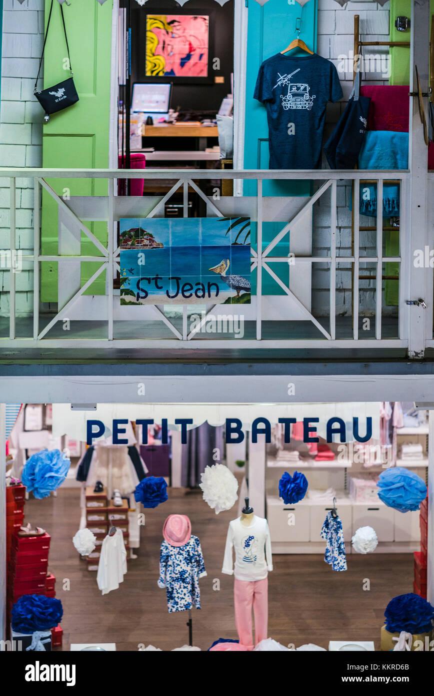 French West Indies, St-Barthelemy, Gustavia, shopping, Petit Bateau, childrens clothing shop - Stock Image
