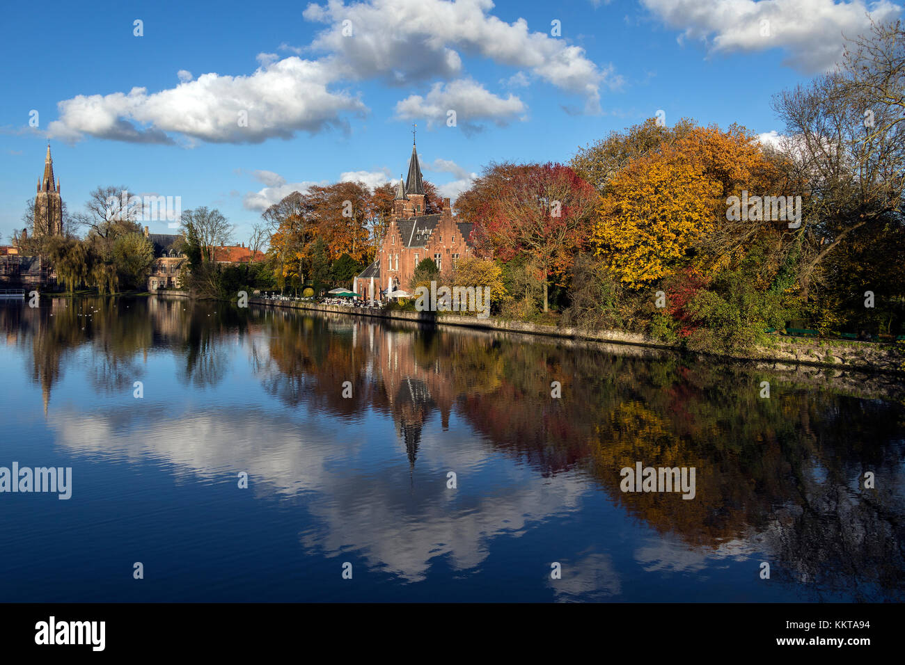 Minnewater in the city of Bruges in Belgium. - Stock Image