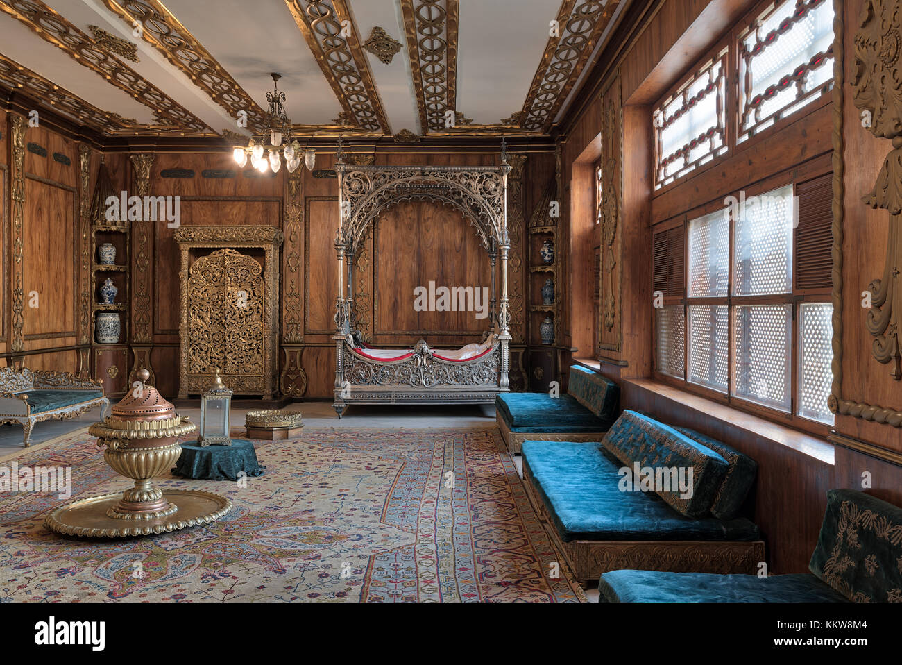 Cairo, Egypt - December 2, 2017: Manial Palace of Prince Mohammed Ali Tawfik. Residence of prince's mother with - Stock Image