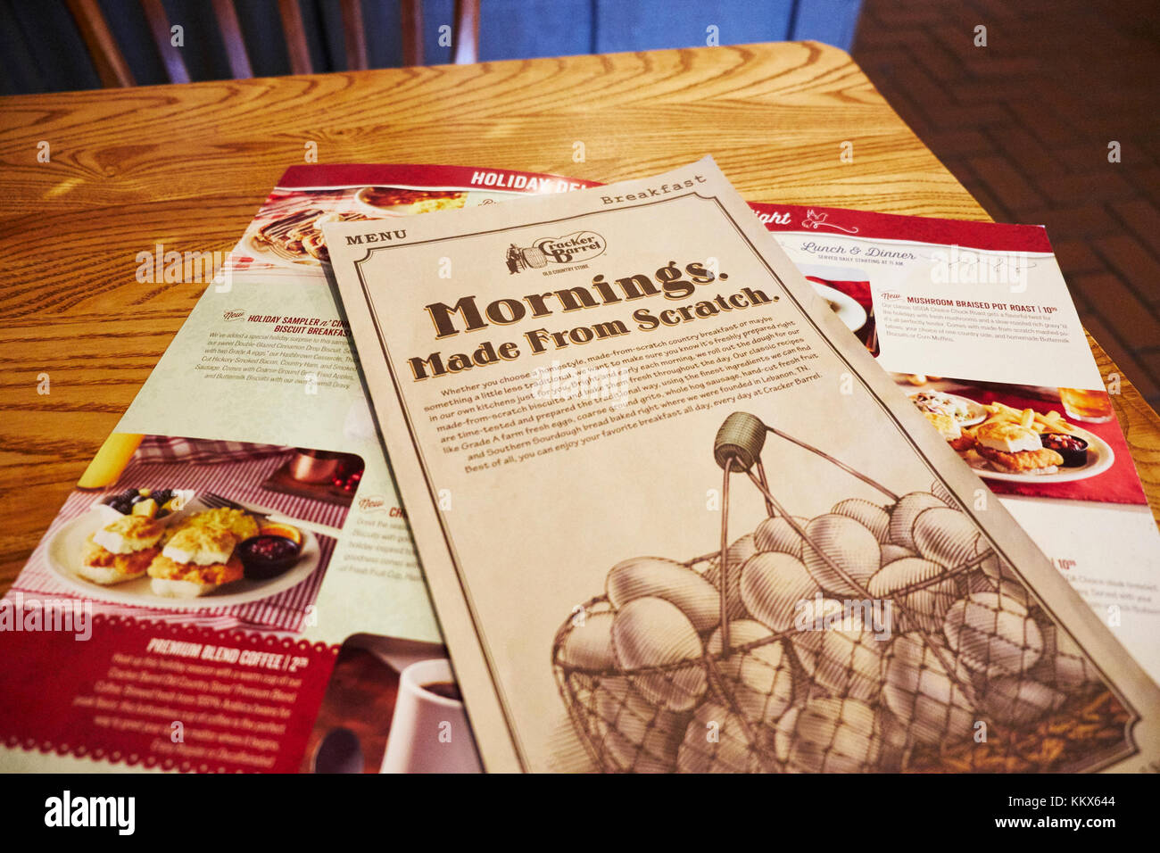 Menu on table for the breakfast meal at Cracker Barrel, Montgomery Alabama, USA. - Stock Image