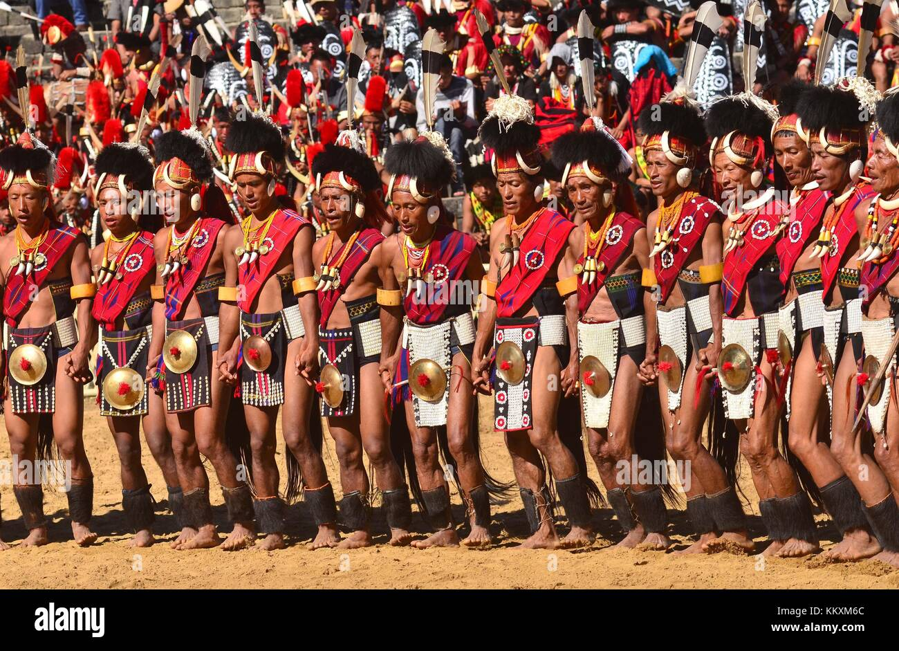 Kohima, India. 03rd Dec, 2017.  Naga tribesmen from Phochury tribe perform a dance on the third day of the Hornbill - Stock Image