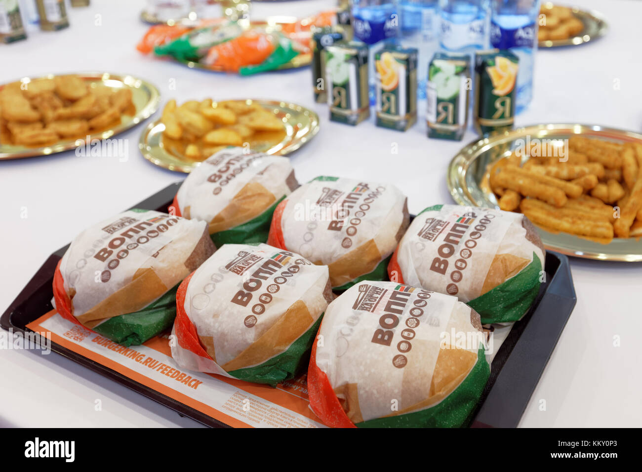 Six Whoppers on a tray in 500th Burger King restaurant in Russia in the day of opening - Stock Image