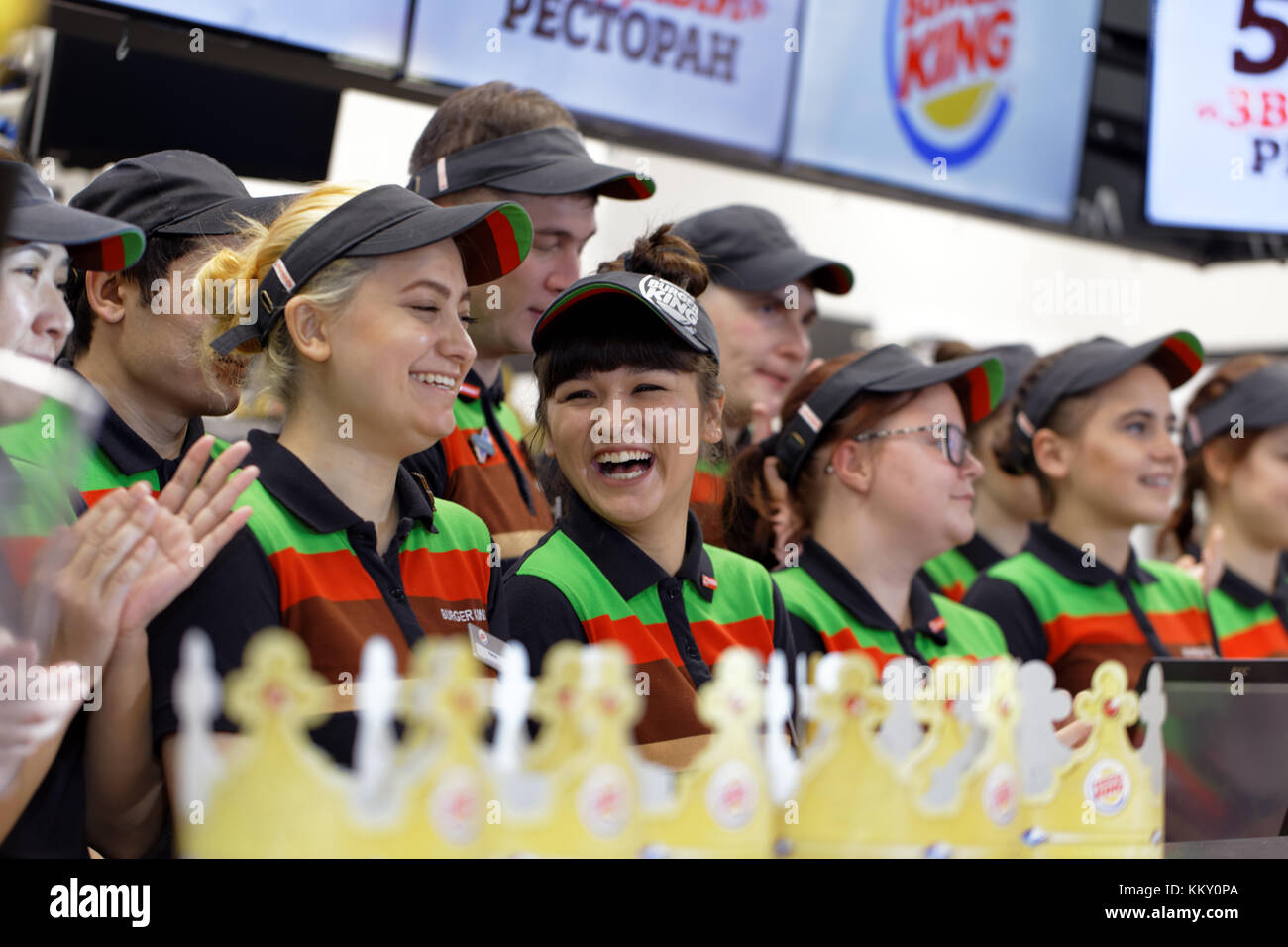 St. Petersburg, Russia - November 29, 2017: Staff of 500th Burger King restaurant in Russia in the service area - Stock Image
