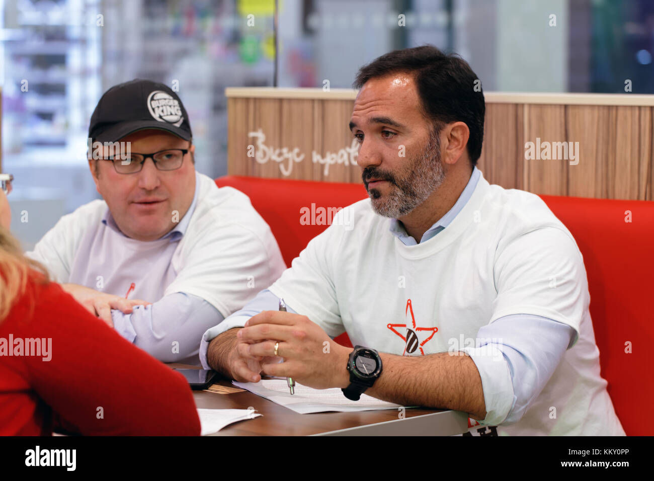 Press conference of Jose Cil (center), President of Burger King, and Dmitry Medovy, general director of Burger King - Stock Image
