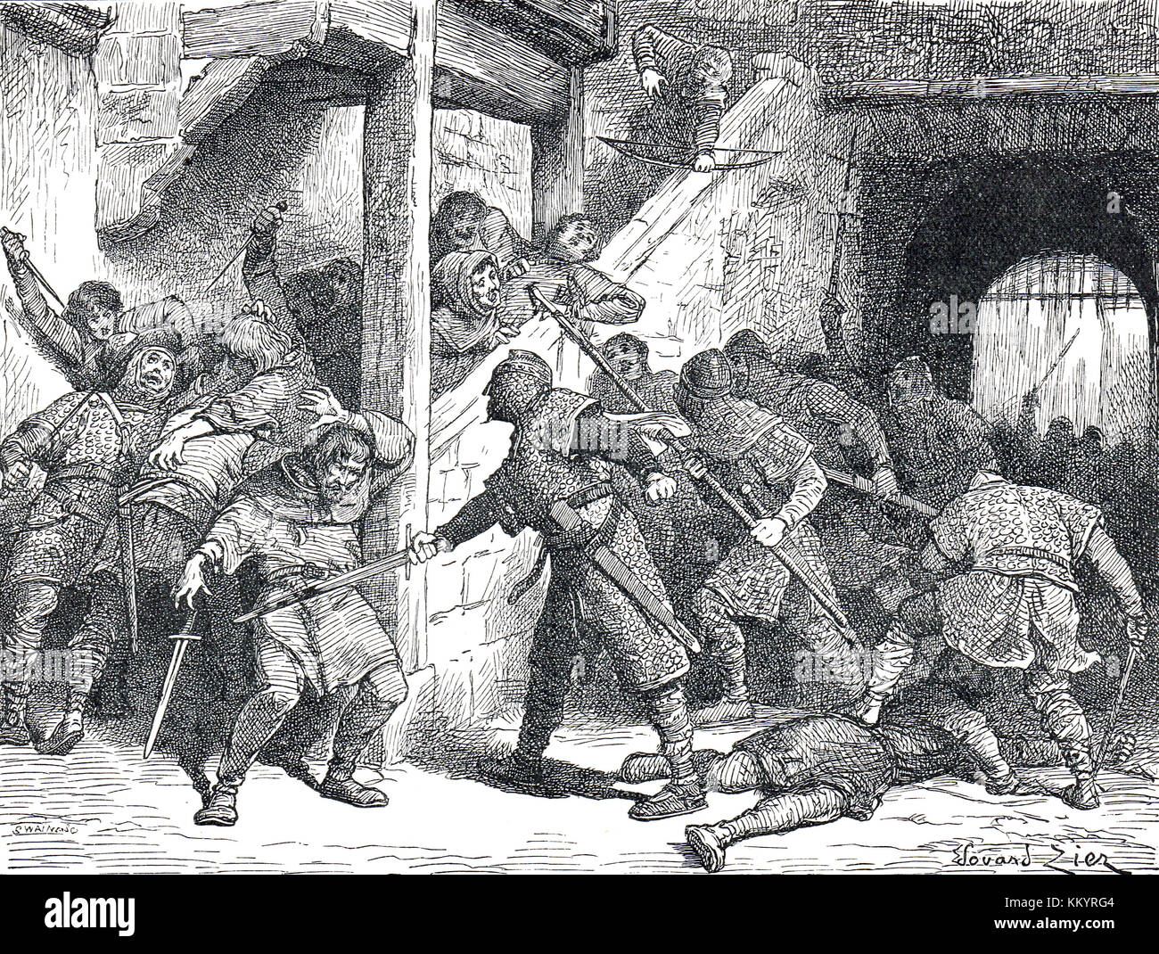 Riot at Dover, September 1051, violent clash between English and Normans - Stock Image