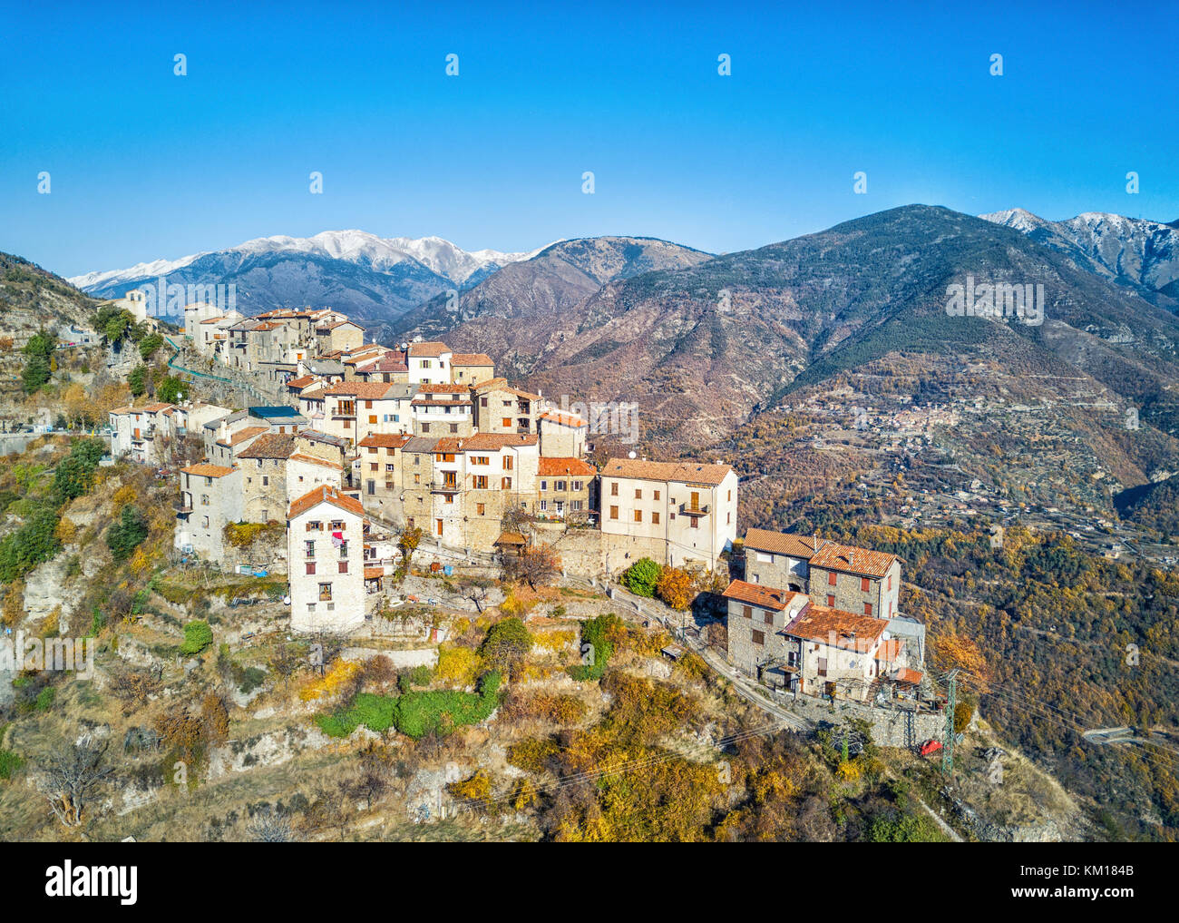 Aerial view on Bairols medieval mountain village, Alpes-Maritimes, France - Stock Image