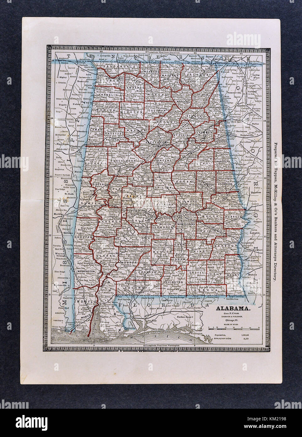 George Cram Antique Map from 1866 Atlas for Attorneys and Bankers: United States - Alabama - Birmingham Montgomery - Stock Image