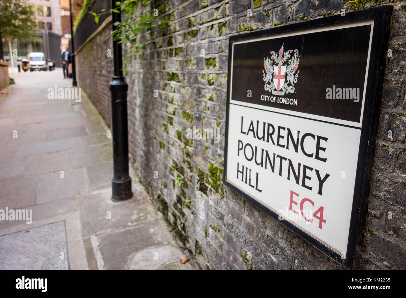 Street sign for Laurence Pountney Hill, City of London, UK - Stock Image
