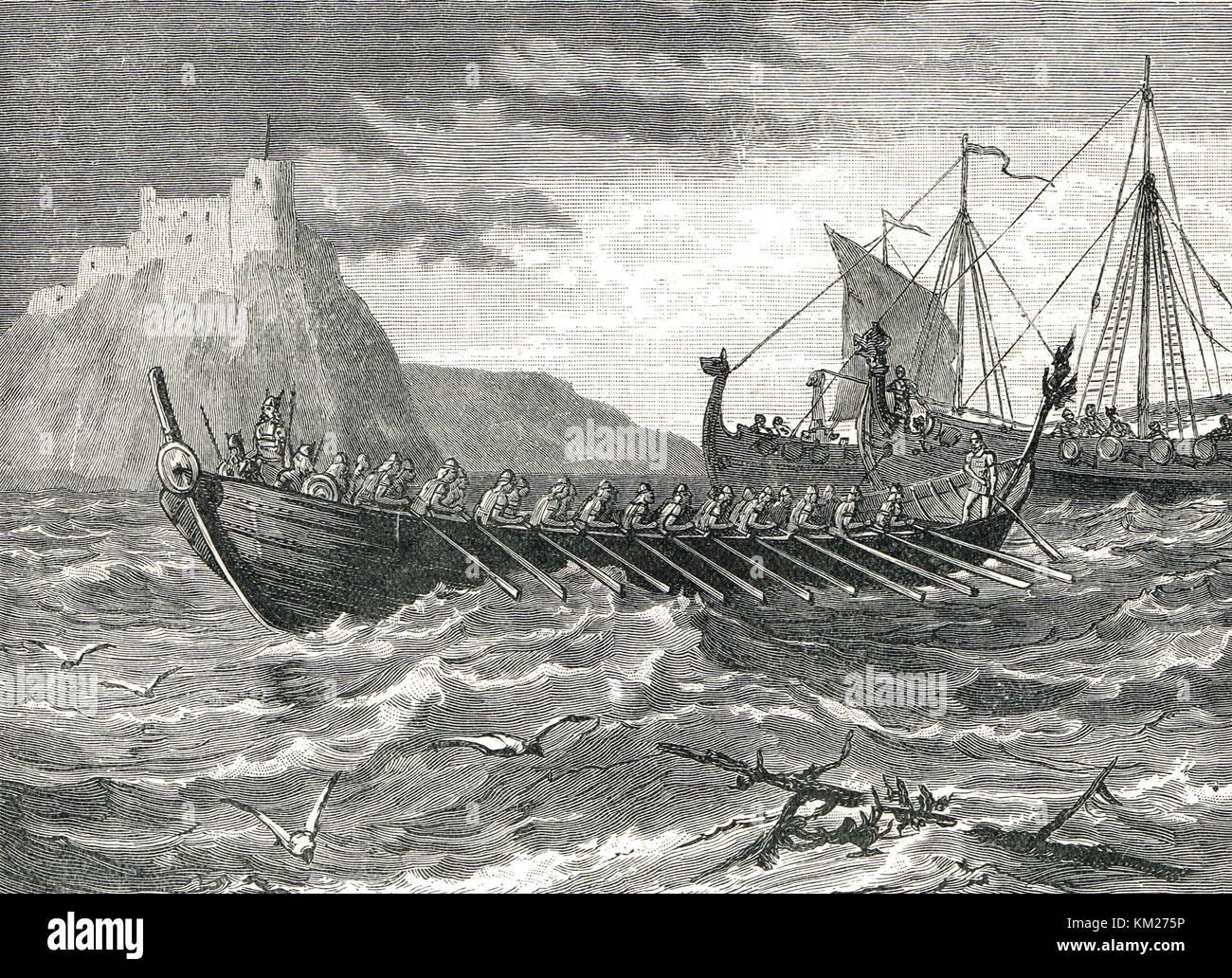 Danish Viking ships of the 9th century - Stock Image