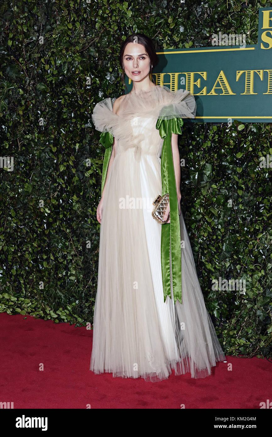 London, UK. 3rd December, 2017.Keira Knightley, London Evening Standard Theatre Awards, Theatre Royal Drury Lane, - Stock Image