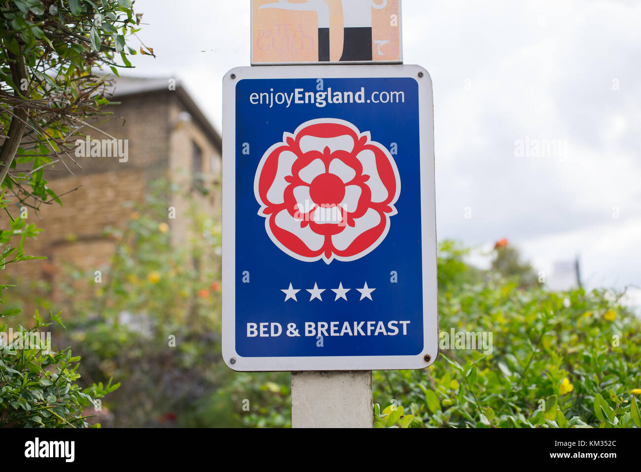 Bed and Breakfast sign stating its belonging to enjoy England.com,  England's star-rated guest accommodation - Stock Image
