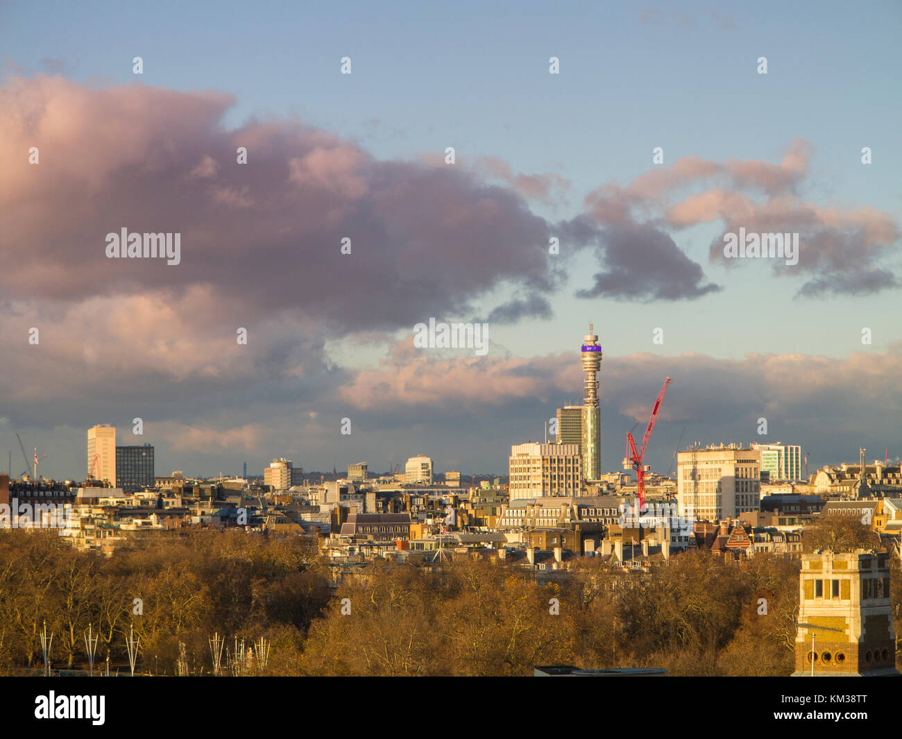 The BT Tower standing out on a London skyline view - Stock Image