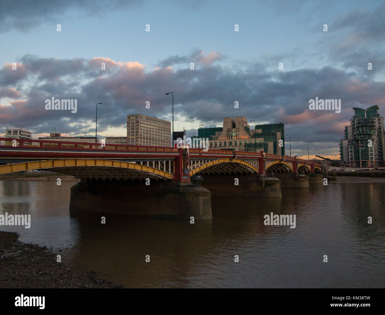 St George's Wharf and the River Thames - Stock Image