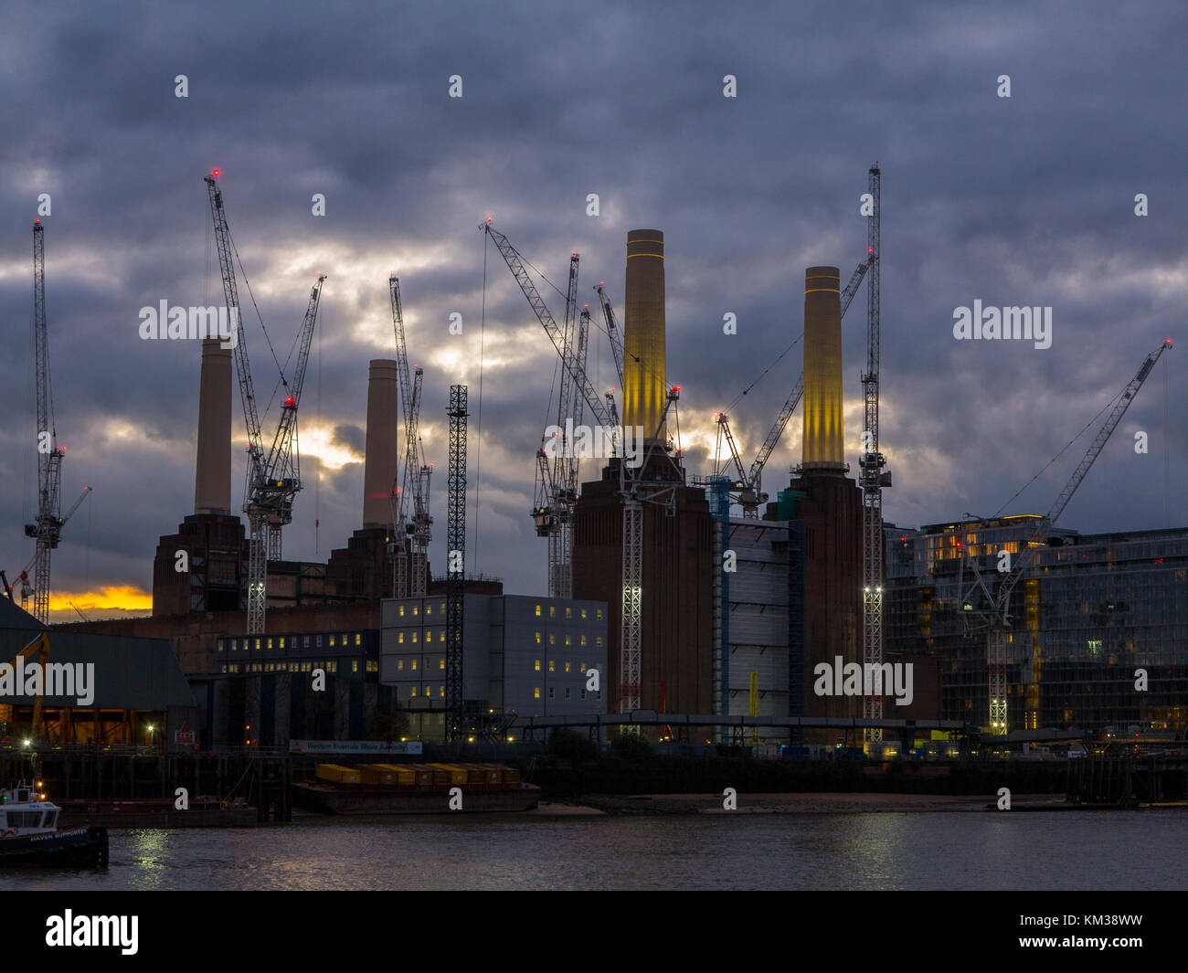 Battersea Power Station under development - a complete change to the remote industrial brown site building from - Stock Image