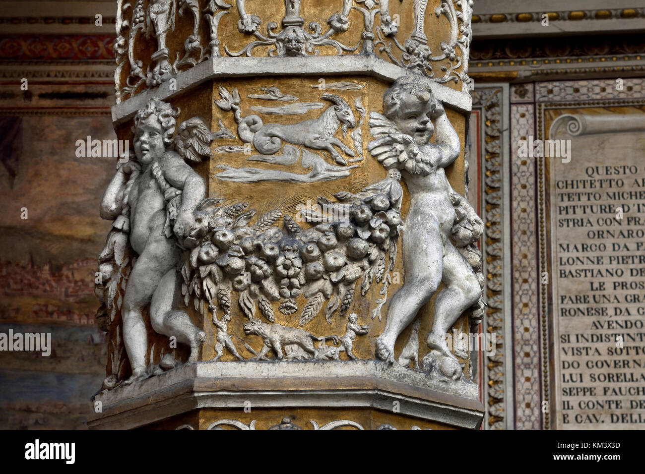 The Palazzo Vecchio in the 'Piazza della Signora' Florence Tuscany Italy - First courtyard with Putto with - Stock Image