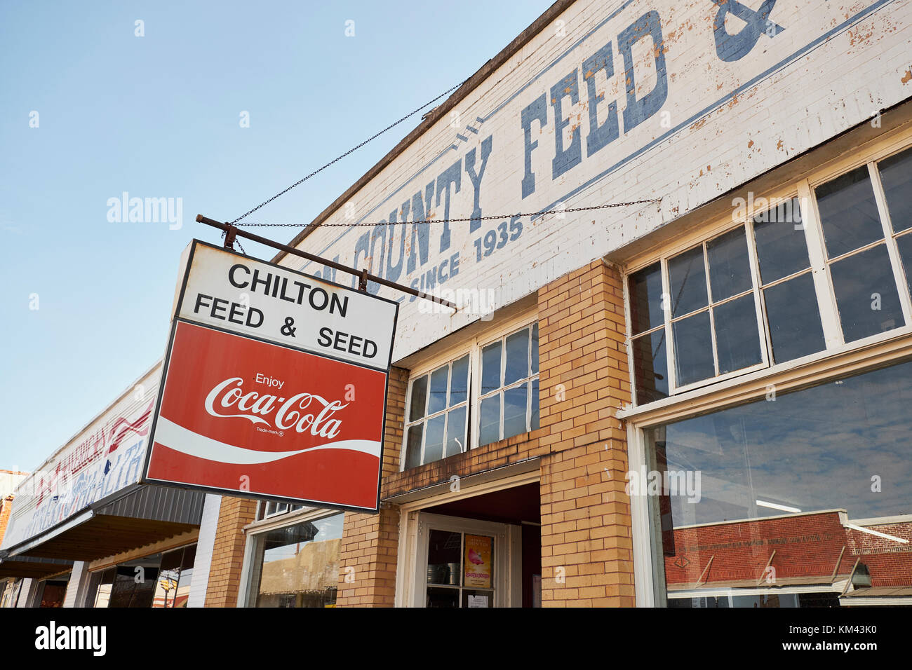 Rural Feed and Seed store or store front, in Chilton County, Clanton Alabama, USA. - Stock Image